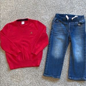 Baby gap 2t jeans and red sweater